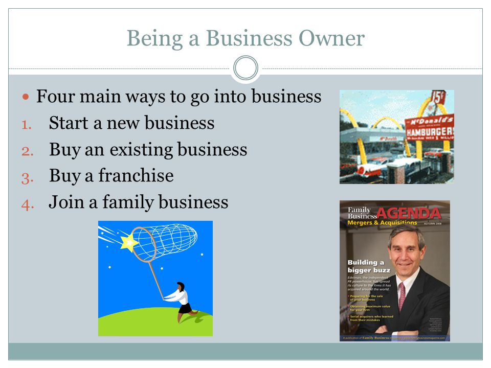 Being a Business Owner Four main ways to go into business