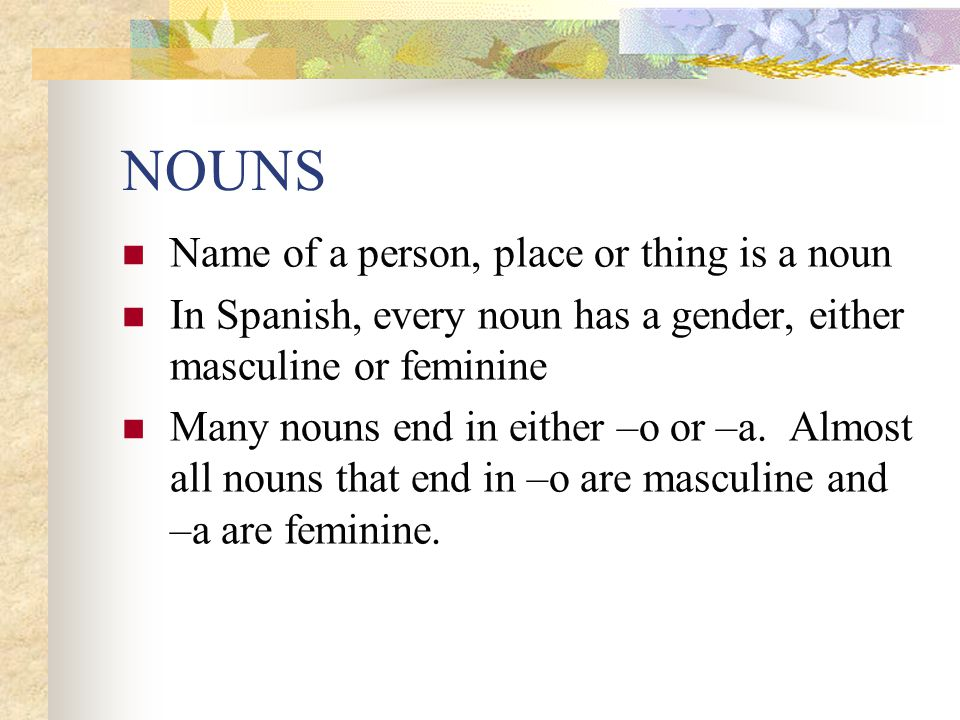 NOUNS Name of a person, place or thing is a noun
