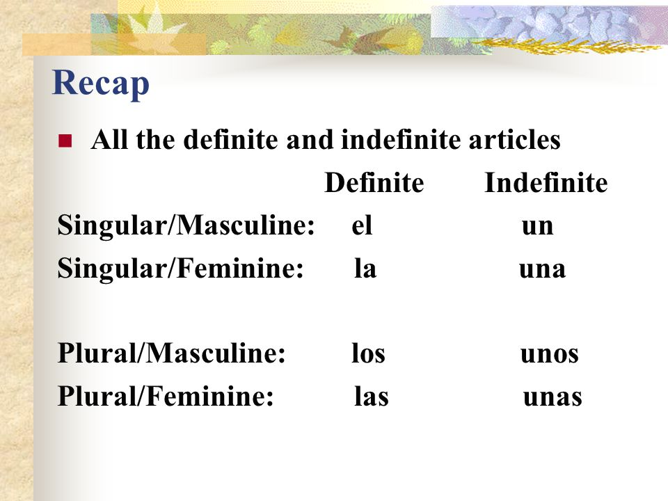 Recap All the definite and indefinite articles Definite Indefinite
