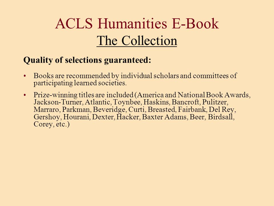 ACLS Humanities E-Book The Collection