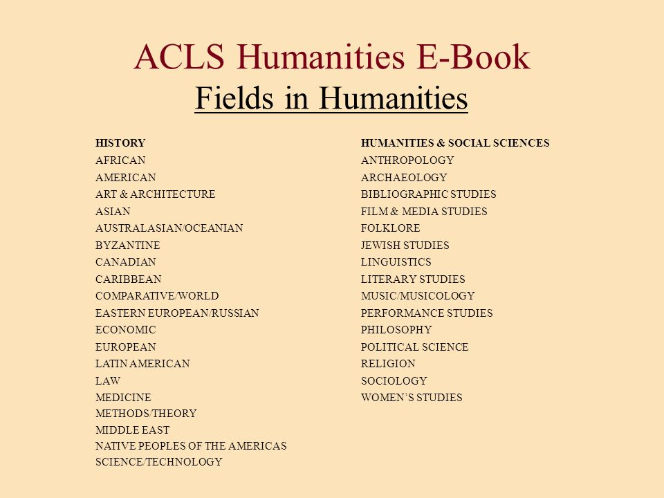 ACLS Humanities E-Book Fields in Humanities
