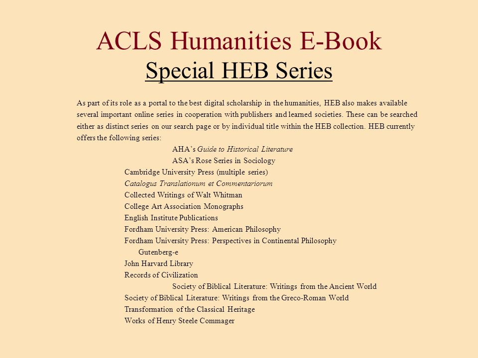 ACLS Humanities E-Book Special HEB Series