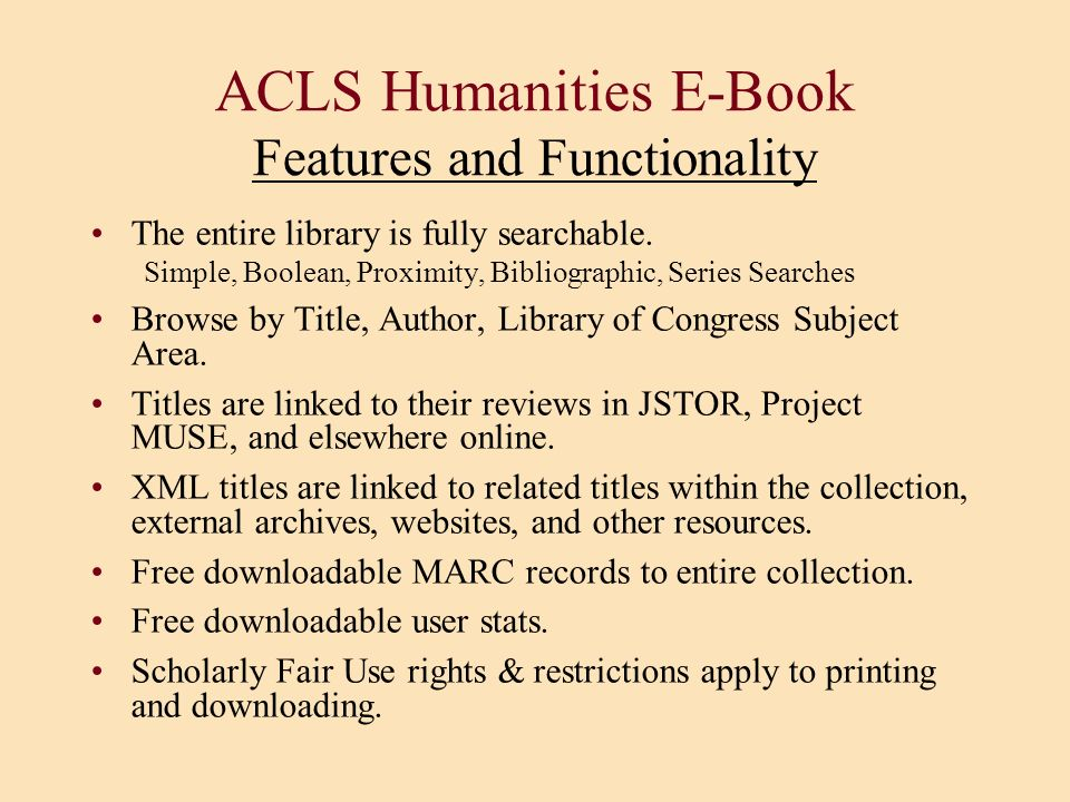 ACLS Humanities E-Book Features and Functionality