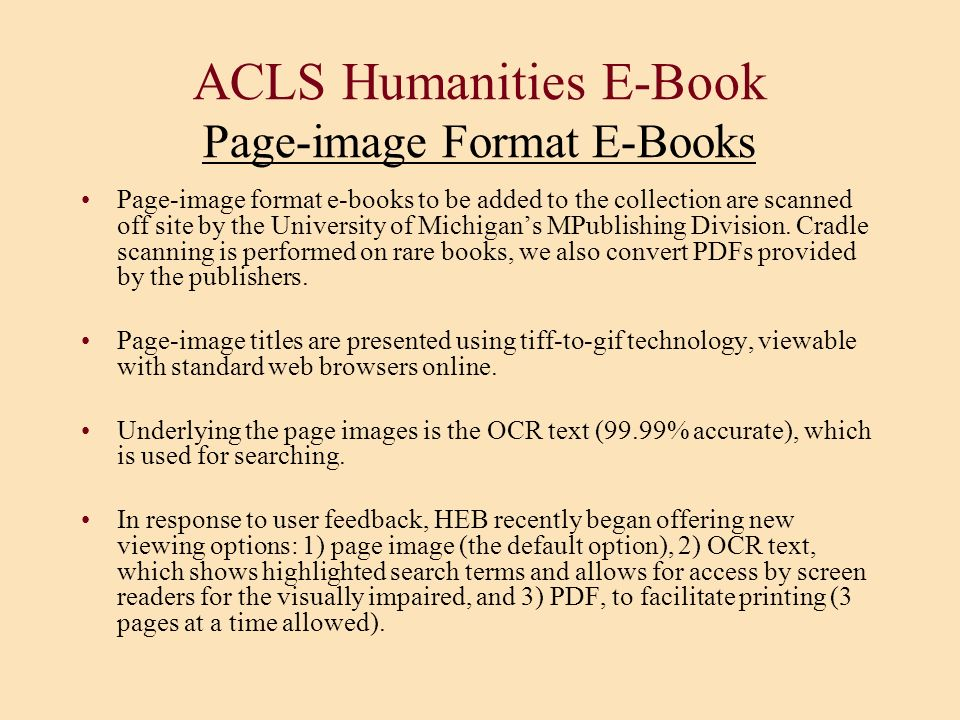 ACLS Humanities E-Book Page-image Format E-Books