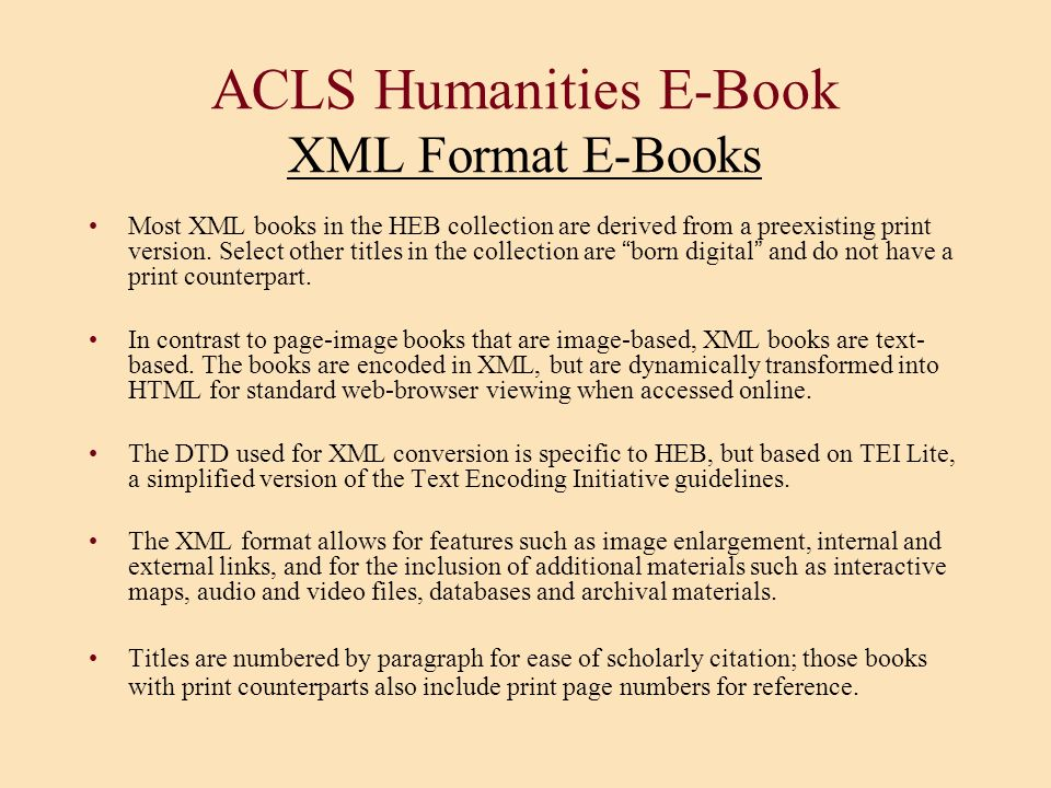 ACLS Humanities E-Book XML Format E-Books