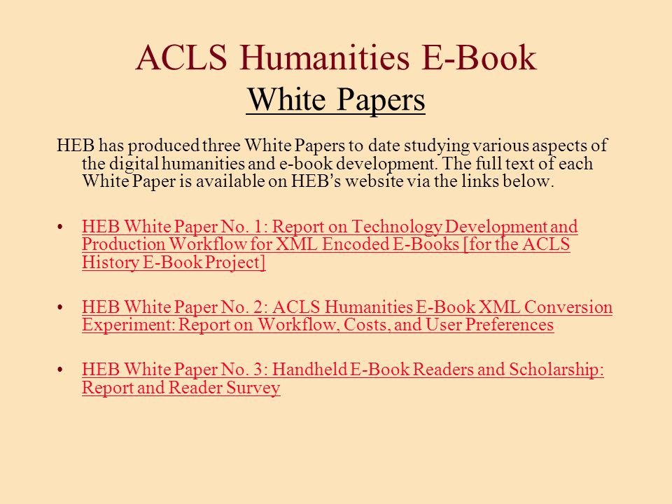 ACLS Humanities E-Book White Papers