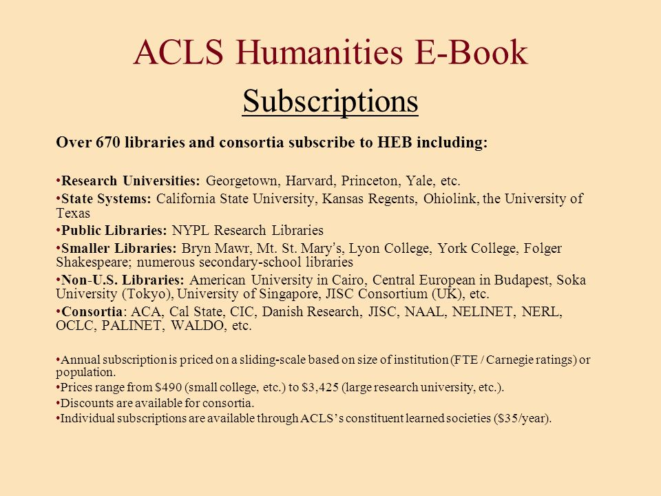 ACLS Humanities E-Book Subscriptions