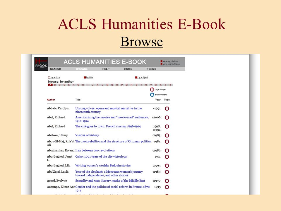 ACLS Humanities E-Book Browse