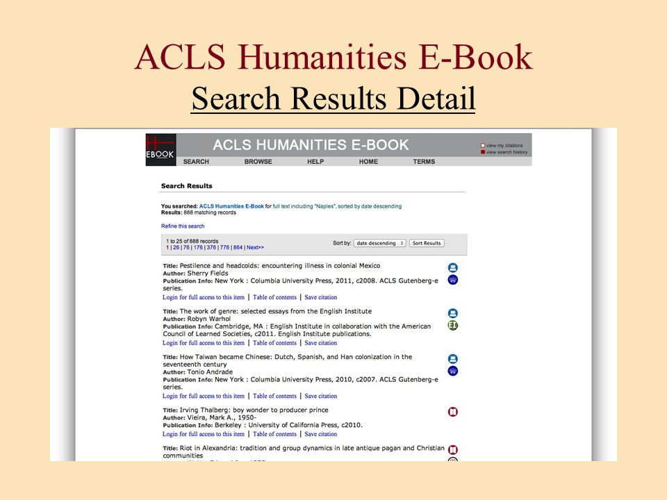 ACLS Humanities E-Book Search Results Detail