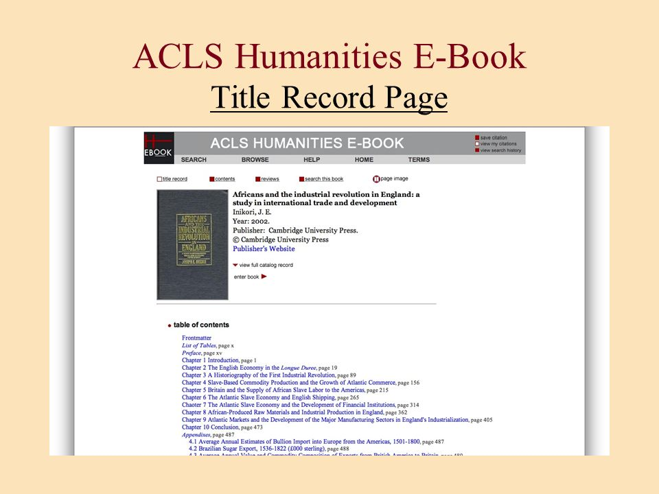 ACLS Humanities E-Book Title Record Page