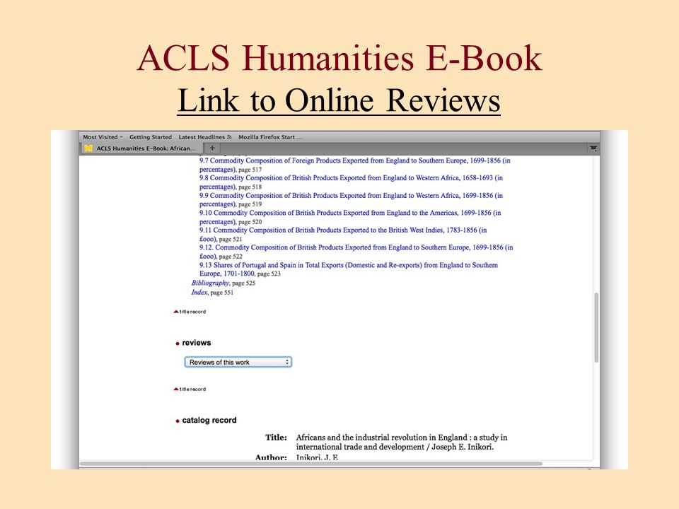 ACLS Humanities E-Book Link to Online Reviews