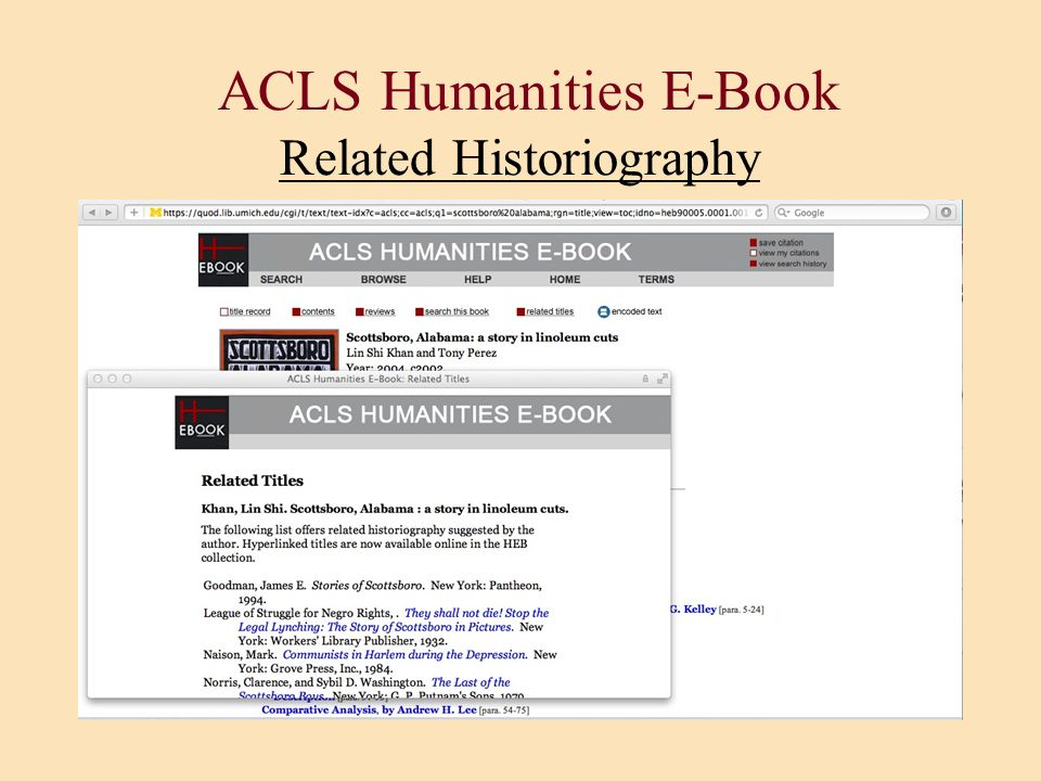 ACLS Humanities E-Book Related Historiography