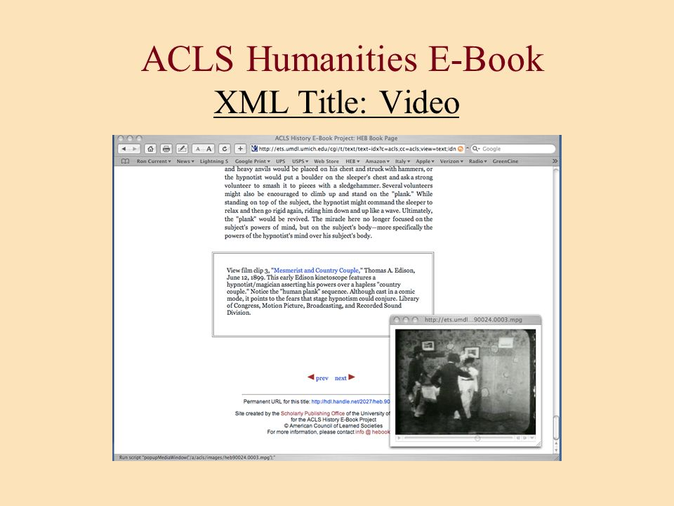 ACLS Humanities E-Book XML Title: Video