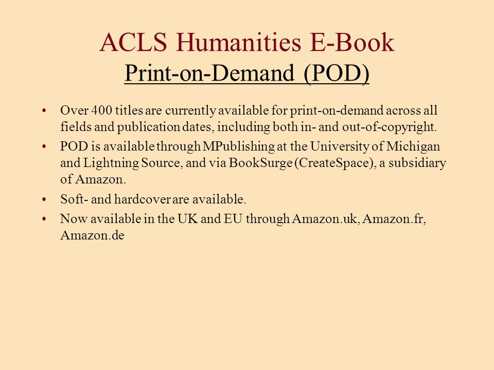 ACLS Humanities E-Book Print-on-Demand (POD)