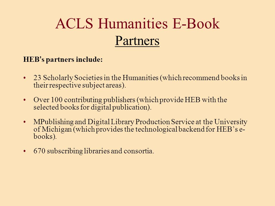 ACLS Humanities E-Book Partners