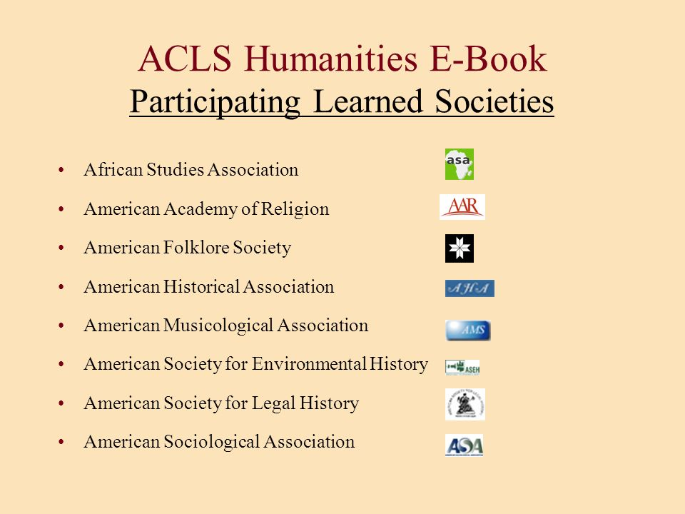 ACLS Humanities E-Book Participating Learned Societies