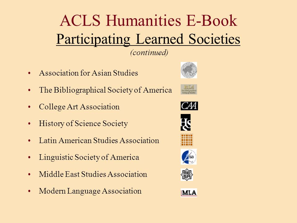 ACLS Humanities E-Book Participating Learned Societies (continued)