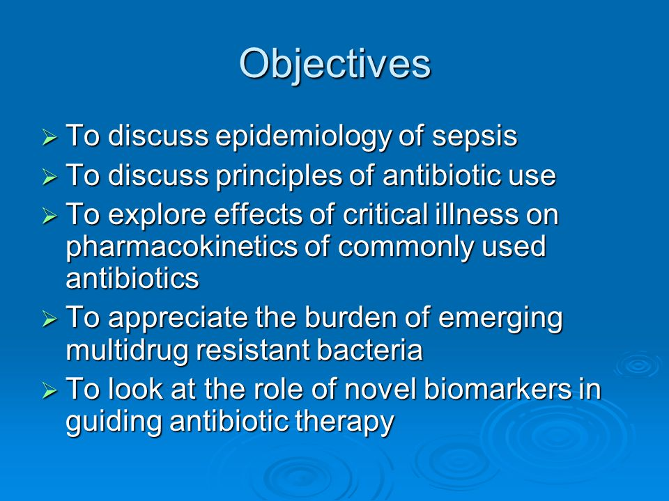 Objectives To discuss epidemiology of sepsis