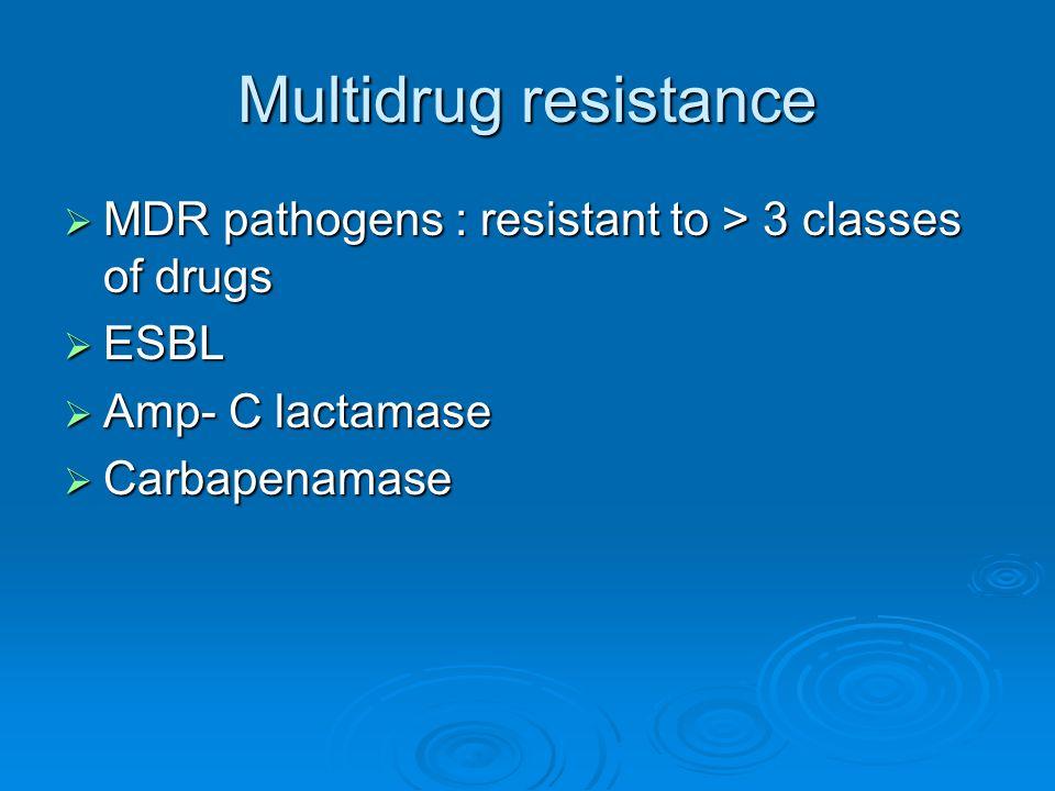 Multidrug resistance MDR pathogens : resistant to > 3 classes of drugs.