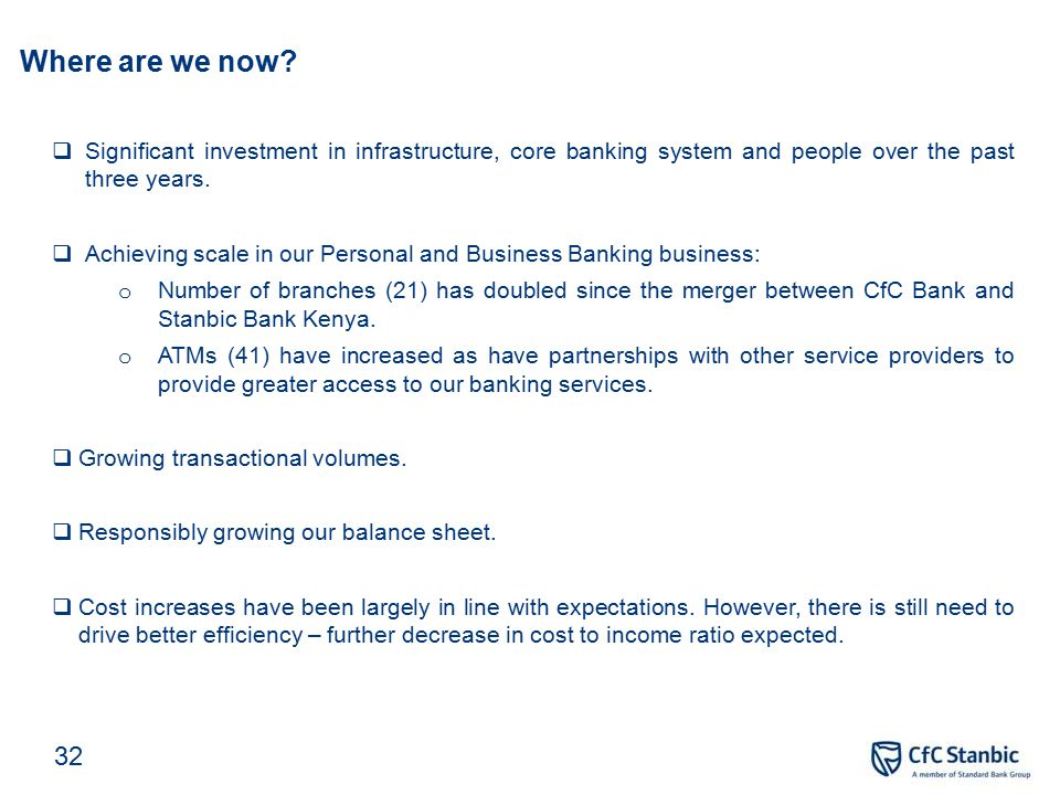 Key achievements in 2013 Grew customer deposits by 26% and customer loans by 14%.