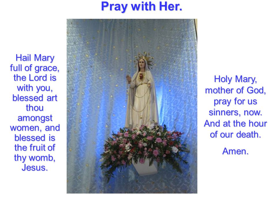 Pray with Her. Hail Mary full of grace, the Lord is with you, blessed art thou amongst women, and blessed is the fruit of thy womb, Jesus.