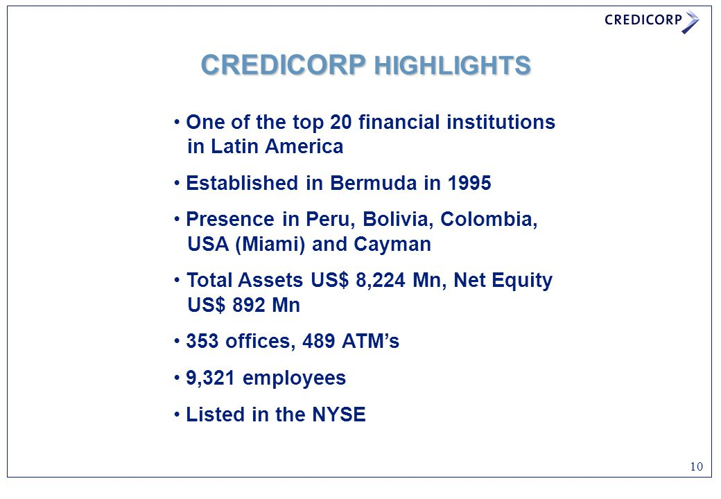 CREDICORP HIGHLIGHTS One of the top 20 financial institutions in Latin America. Established in Bermuda in 1995.