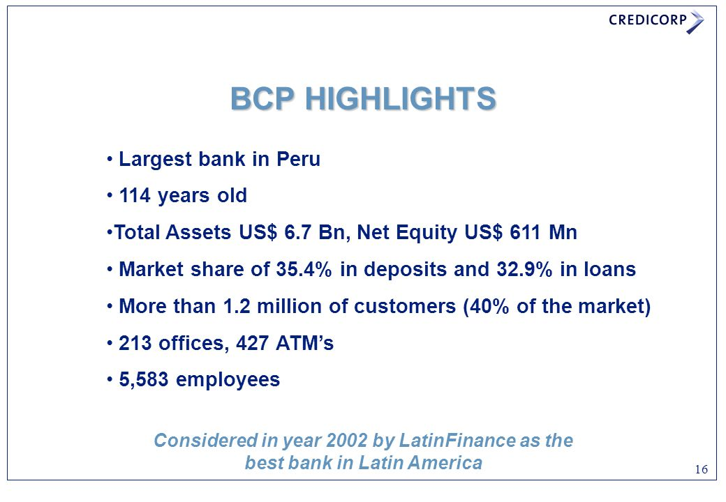 BCP HIGHLIGHTS Largest bank in Peru 114 years old