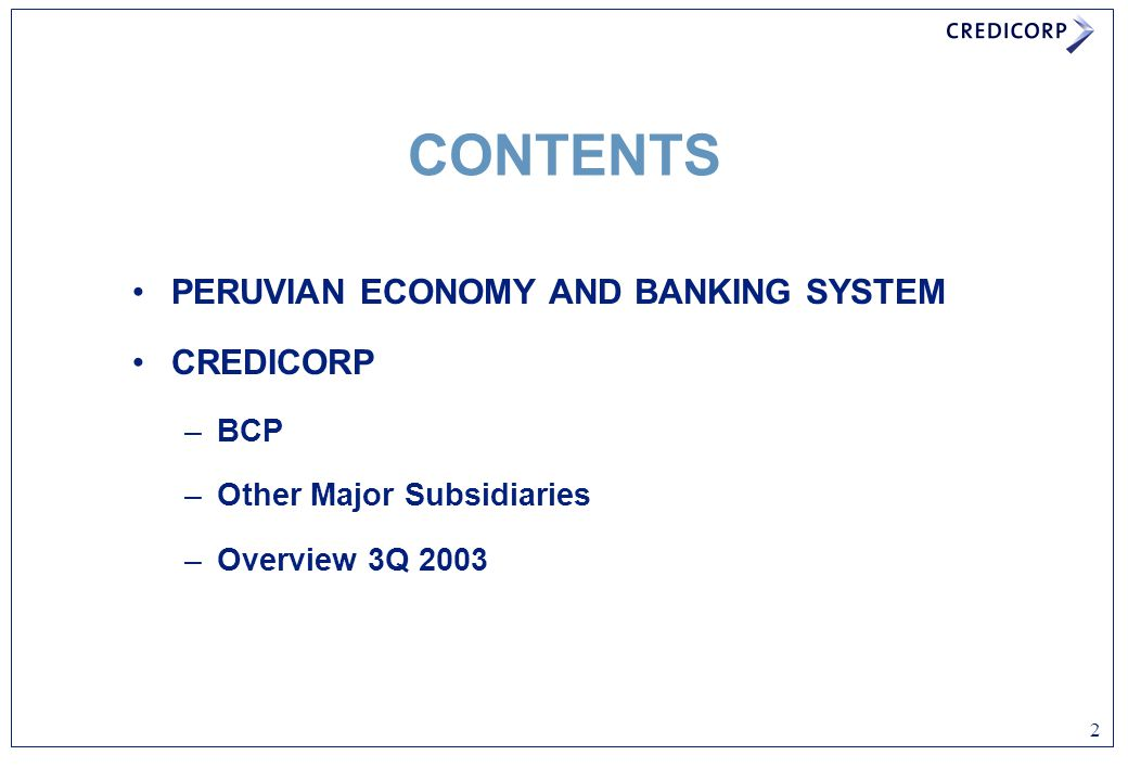 PERUVIAN ECONOMY AND BANKING SYSTEM CREDICORP