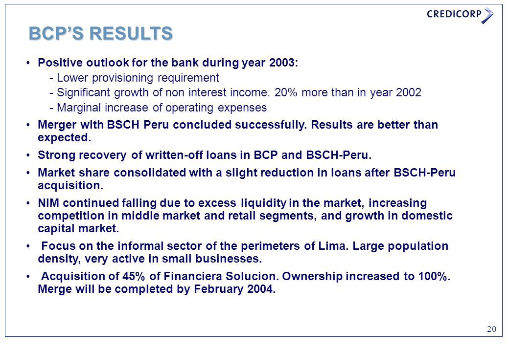 BCP'S RESULTS Positive outlook for the bank during year 2003: