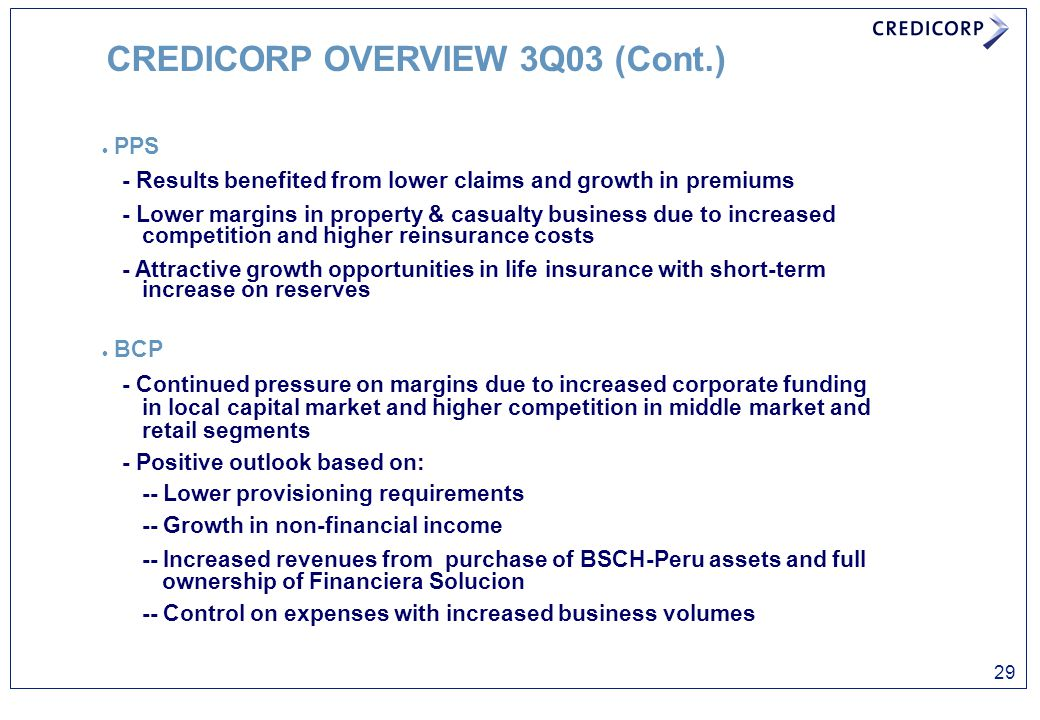 CREDICORP OVERVIEW 3Q03 (Cont.)