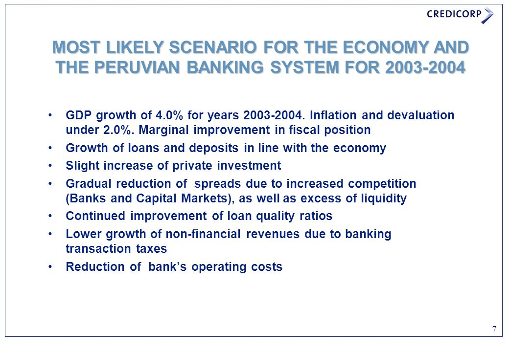 MOST LIKELY SCENARIO FOR THE ECONOMY AND THE PERUVIAN BANKING SYSTEM FOR 2003-2004