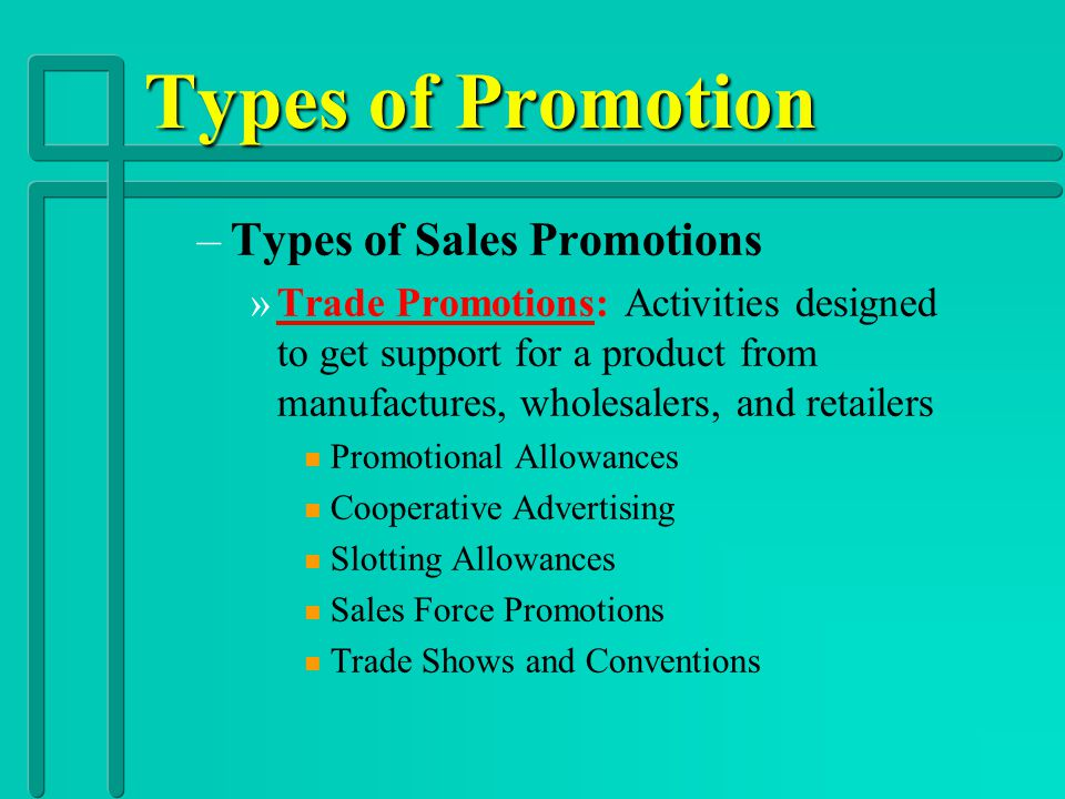 Types of Promotion Types of Sales Promotions