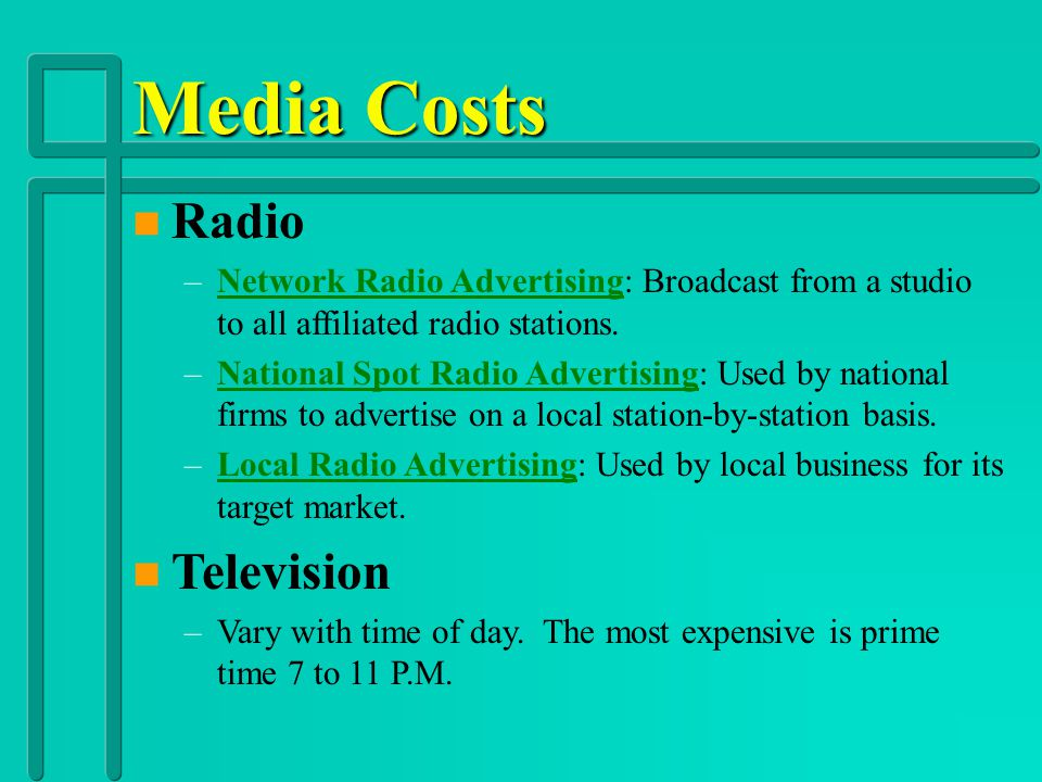Media Costs Radio Television