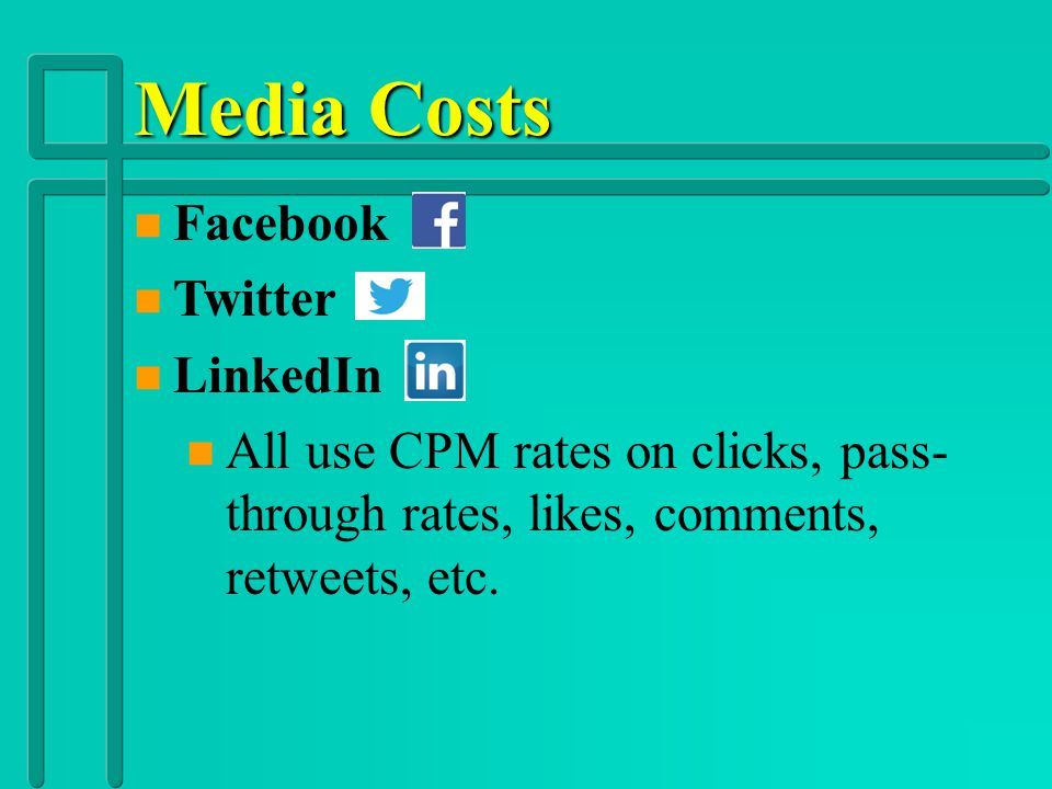 Media Costs Facebook Twitter LinkedIn