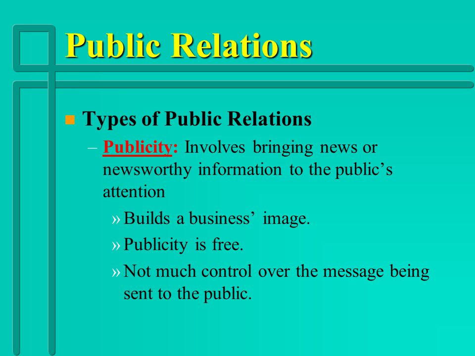 Public Relations Types of Public Relations