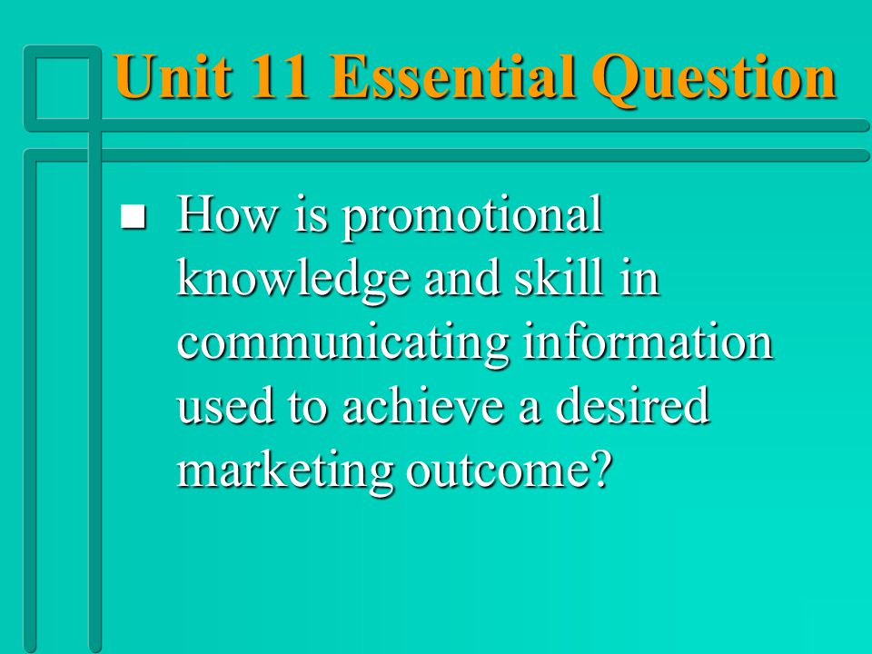 Unit 11 Essential Question