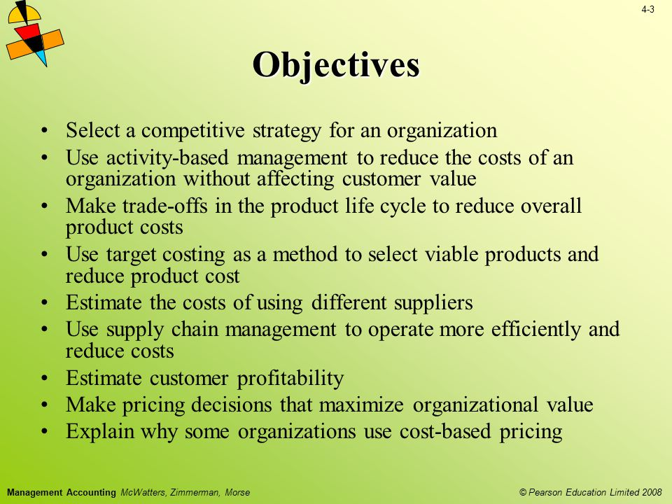 Objectives Select a competitive strategy for an organization