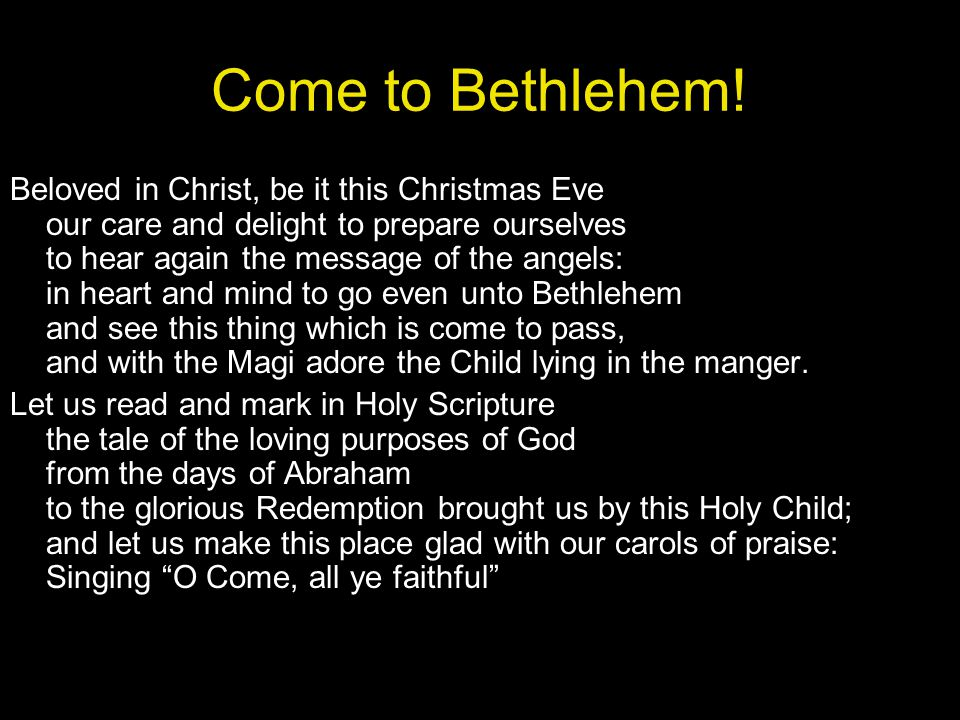 Come to Bethlehem!
