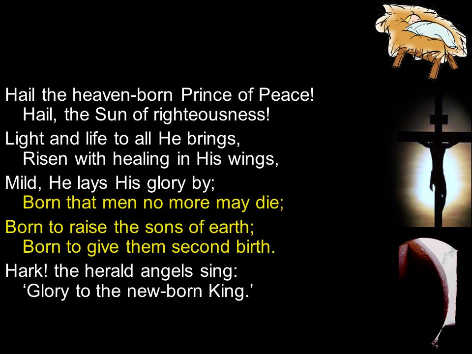 Hail the heaven-born Prince of Peace! Hail, the Sun of righteousness!