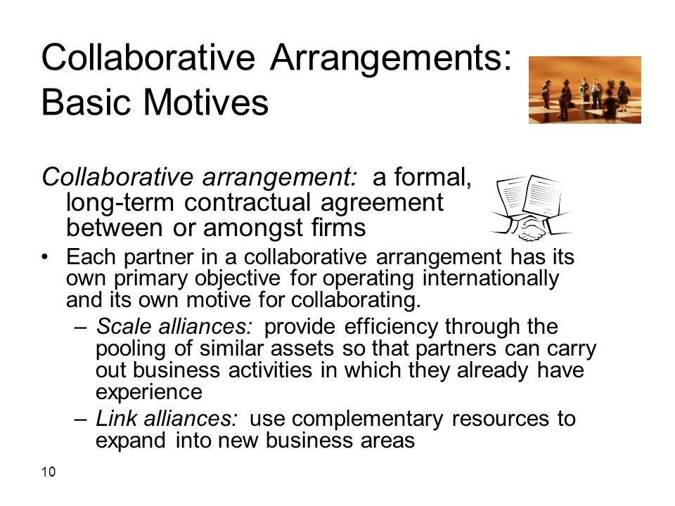 Collaborative Arrangements: Basic Motives