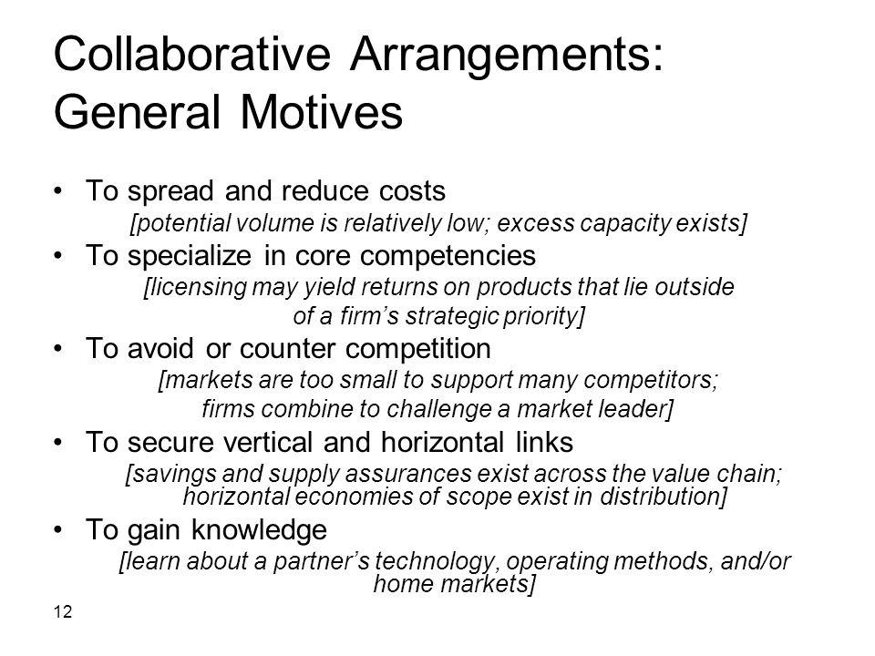 Collaborative Arrangements: General Motives
