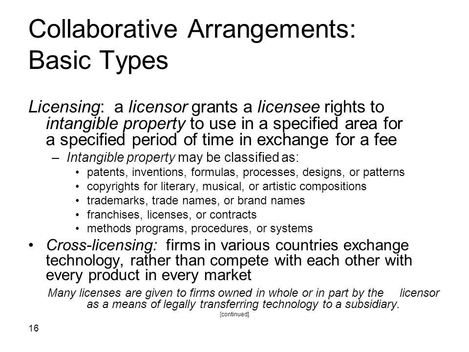 Collaborative Arrangements: Basic Types