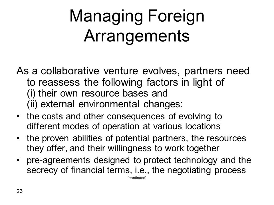 Managing Foreign Arrangements