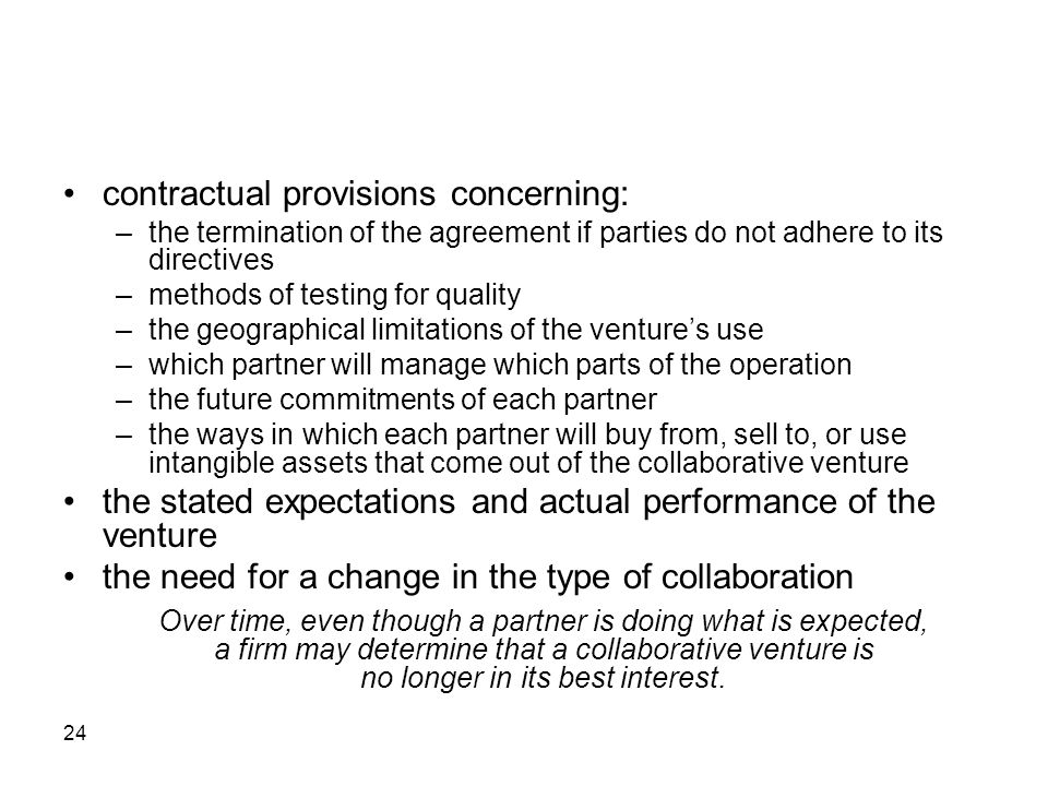 contractual provisions concerning: