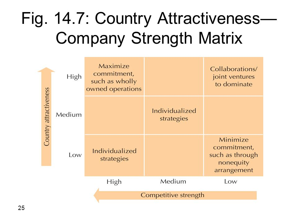 Fig. 14.7: Country Attractiveness—Company Strength Matrix
