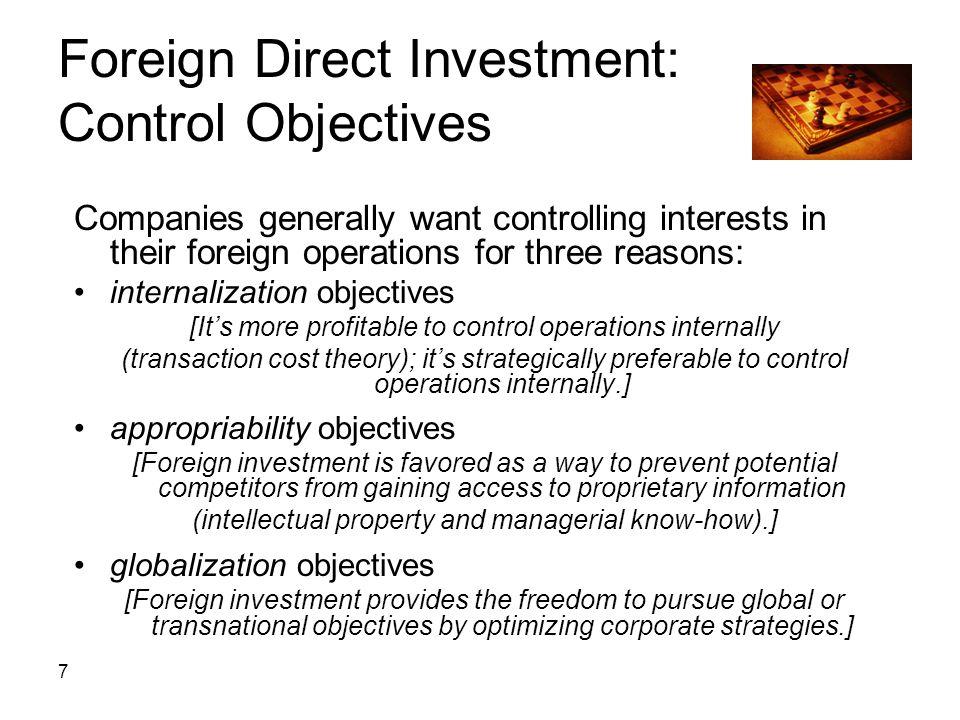 Foreign Direct Investment: Control Objectives