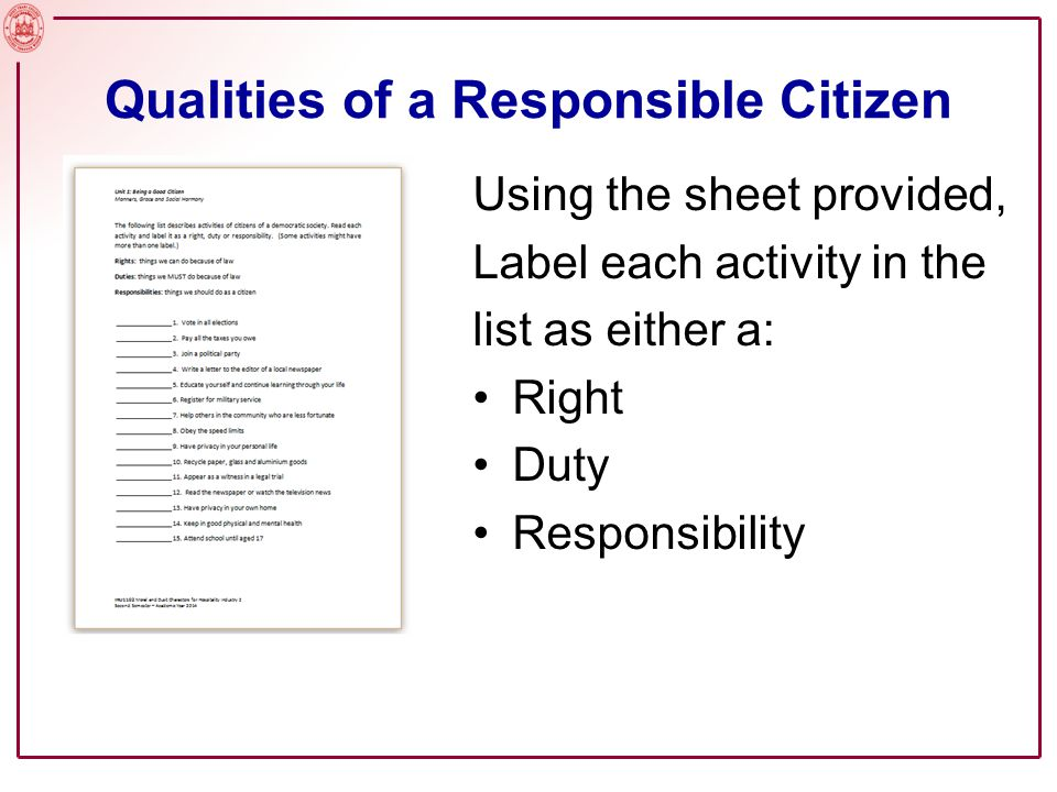 Qualities of a Responsible Citizen