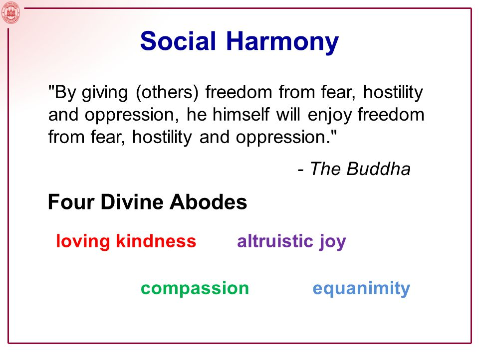 Social Harmony Four Divine Abodes
