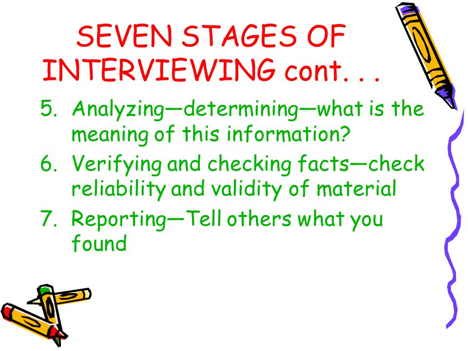 SEVEN STAGES OF INTERVIEWING cont. . .