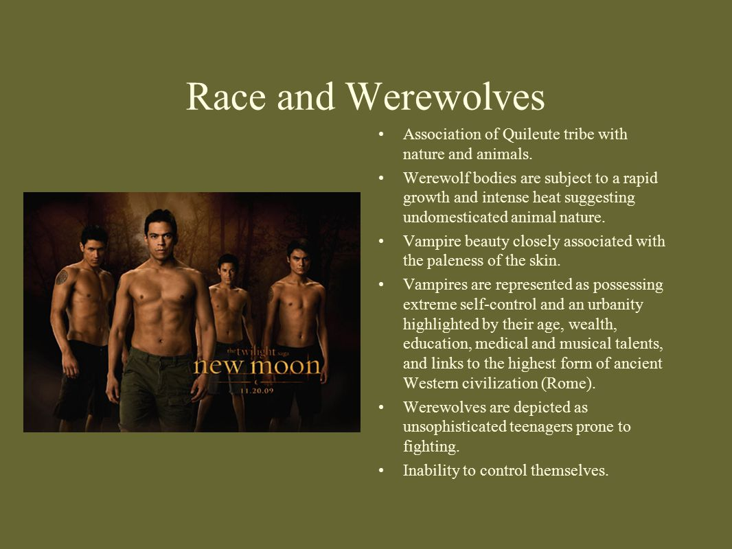 Race and Werewolves Association of Quileute tribe with nature and animals.